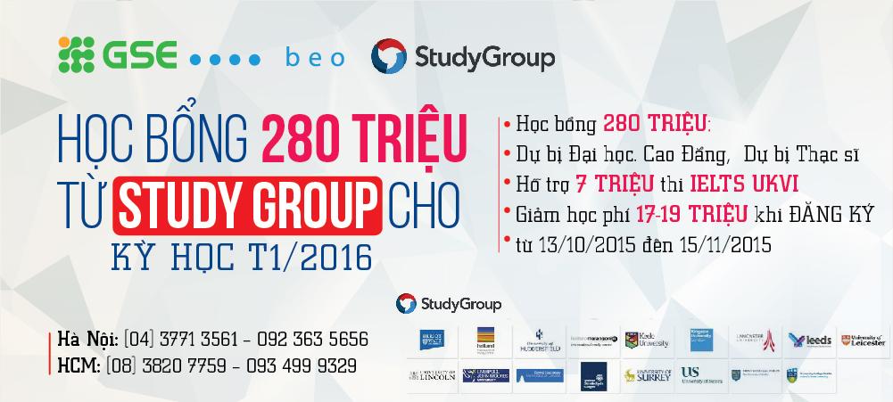 HỌC BỔNG KHỦNG 280 TRIỆU TỪ STUDY GROUP CHO KỲ HỌC THÁNG 1/2016