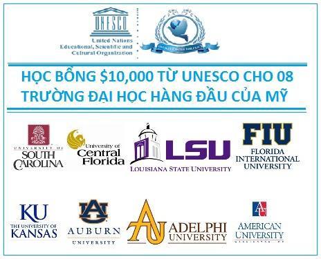 Du học Mỹ – Cơ hội nhận Học bổng UNESCO 10.000USD năm 2016