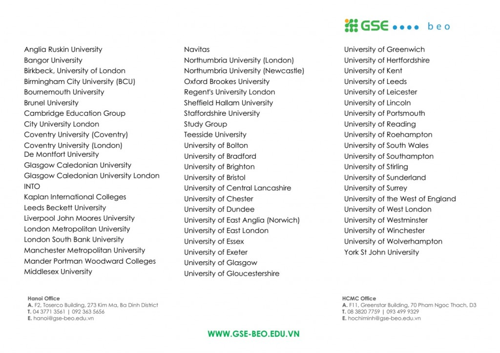 Danh sách trường